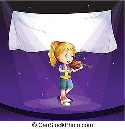 女の子, 実行, 旗, 空のステージ
