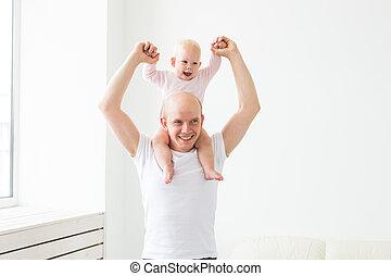 女の子, 家族, 親であること, 父, 幸せ, 遊び, -, 概念, 父性, わずかしか, 家, 赤ん坊