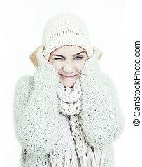 女の子, 寒い, 冬