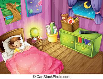女の子, 寝室