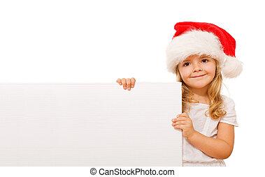 女の子, 幸せ, メッセージ, クリスマス, 板