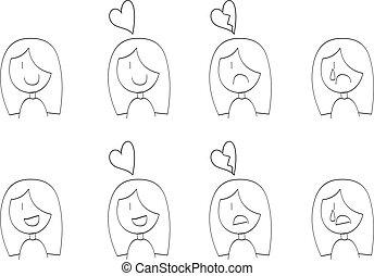 女の子, 幸せ, 漫画, 悲しい