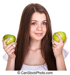 女の子, 幸せ, 若い, 隔離された, 微笑, 十代, 緑のリンゴ, 白
