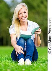 女の子, 座る, 草, 本, 読書