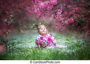 女の子, 庭, 咲く