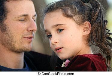 女の子, 彼の, 父
