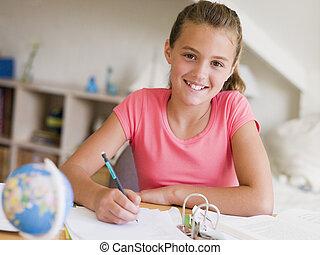 女の子, 彼女, 若い, 宿題