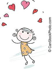 女の子, 心, 愛, いたずら書き