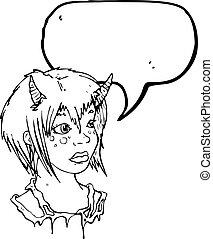 女の子, 悪魔, 漫画
