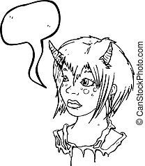 女の子, 悪魔, 漫画, 角