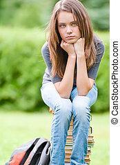 女の子, 悲しい, 本, 学生, モデル