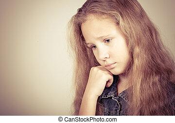 女の子, 悲しい, 肖像画, 十代, ブロンド