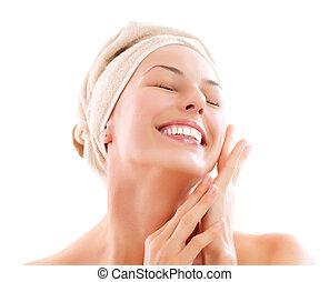 女の子, 感動的である, 後で, face., 浴室, 彼女, 美しい, skincare