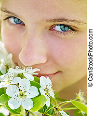 女の子, 感触, 顔, の, 花, 上に, 木。