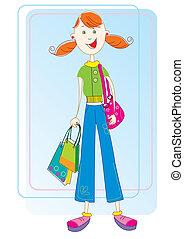 女の子, 成功した, shopping., ベクトル, プレゼント