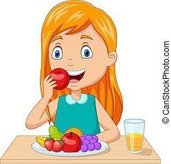女の子, 成果, テーブル, 食べること