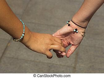 女の子, 手を持つ