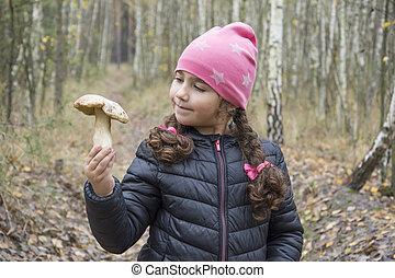 女の子, 手掛かり, きのこ, porcini, 彼女, 森林, 手。