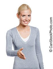 女の子, 手, ジェスチャーで表現する, 振動