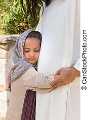 女の子, 抱き合う, イエス・キリスト
