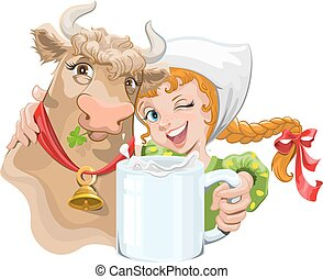 女の子, 抱き合う, 牛