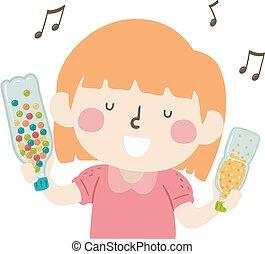 女の子, 振りかけ式容器, 音楽, 子供, イラスト, 感覚