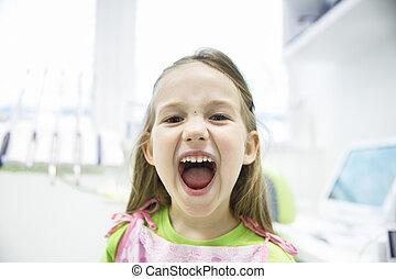 女の子, 提示, 彼女, 健康, 乳歯, ∥において∥, 歯のオフィス