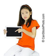 女の子, 提示, 若い, タブレット, アジア人