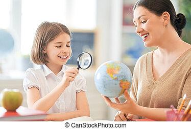 女の子, 教師, classroom.