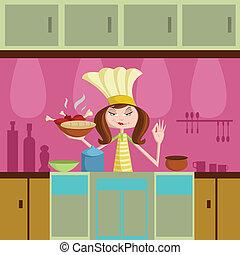 女の子, 料理, 台所