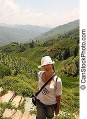 女の子, 旅行する, アジア, 若い