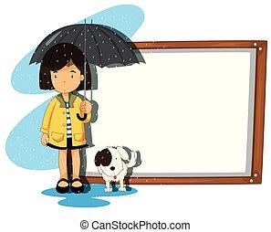 女の子, 旗, 犬, 雨, テンプレート