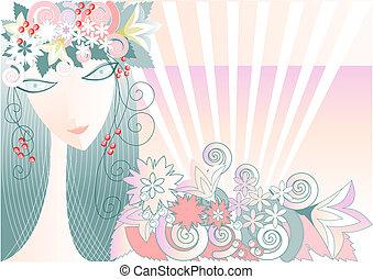 女の子, -, 春