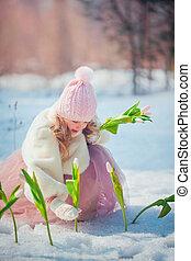 女の子, 春, 美しい, 公園