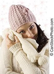 女の子, 服, 冬