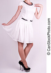 女の子, 服, 白