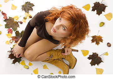 女の子, 服, 秋