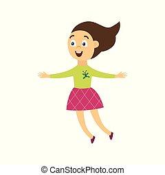 女の子, 朗らかである, ベクトル, 幸せ, 平ら, イラスト, 跳躍, isolated., 喜び, 特徴