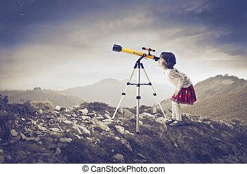 女の子, 望遠鏡, wih