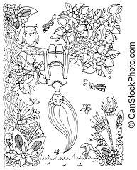 女の子, 木, 禅, 反, white., 本, ベクトル, 上側, いたずら書き, 花, イラスト, 黒, 掛かる, adults., 着色, 。, ストレス, もつれ, frame.