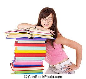 女の子, 本の山, 有色人種