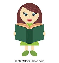 女の子, 本, すてきである
