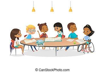 女の子, 本, それぞれ, 車椅子, 学校, banner., 微笑, activity., ベクトル, ラウンド, のまわり, イラスト, 概念, テーブル, 話, 彼女, モデル, 漫画, 含んだ, 他。, 不具, 読書, 友人
