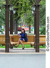 女の子, 本, 公園, 読書
