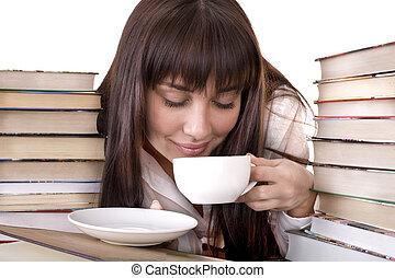 女の子, 本, 積み重ね, cup.