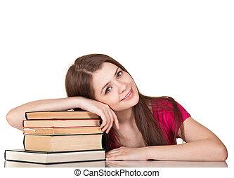 女の子, 本, 隔離された, 十代, たくさん, 白