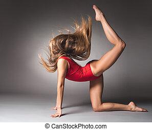 女の子, 柔軟である, スポーツ, 若い