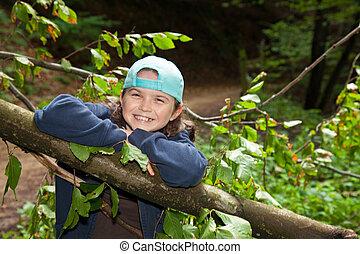 女の子, 森林, 幸せ