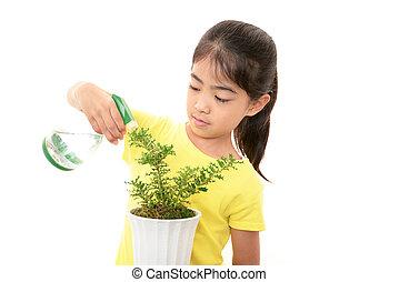 女の子, 植物