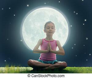 女の子, 楽しむ, 瞑想, そして, ヨガ